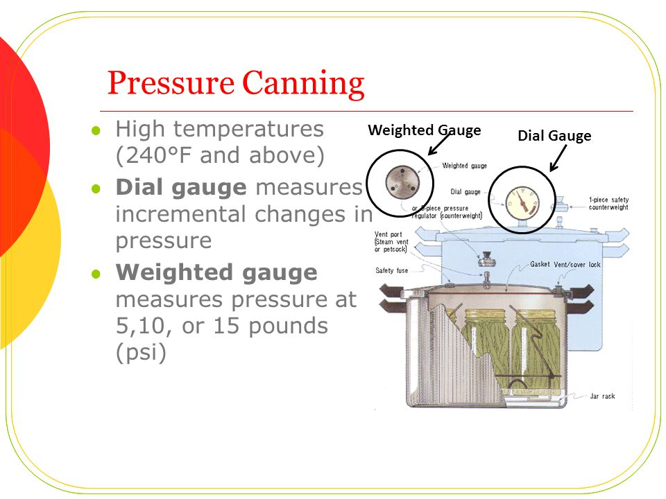 Pressure Canning High temperatures (240°F and above) Dial gauge measures incremental changes in pressure Weighted gauge measures pressure at 5,10, or 15 pounds (psi) Dial Gauge Weighted Gauge