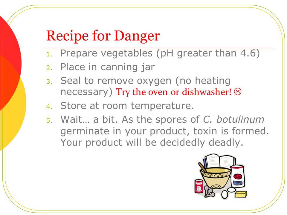 Recipe for Danger 1. Prepare vegetables (pH greater than 4.6) 2.