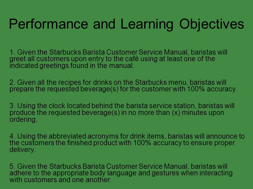 Performance and Learning Objectives 1.