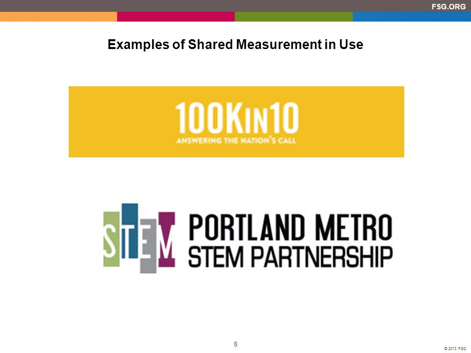 8 FSG.ORG © 2013 FSG Examples of Shared Measurement in Use