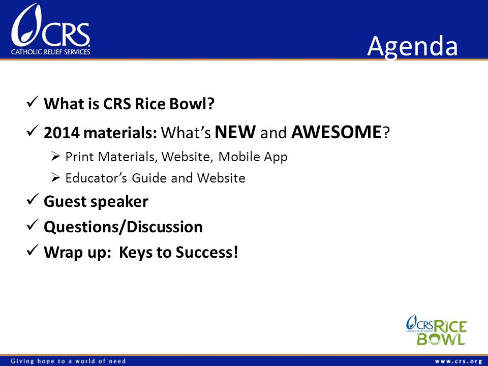 Agenda What is CRS Rice Bowl. 2014 materials: Whats NEW and AWESOME .