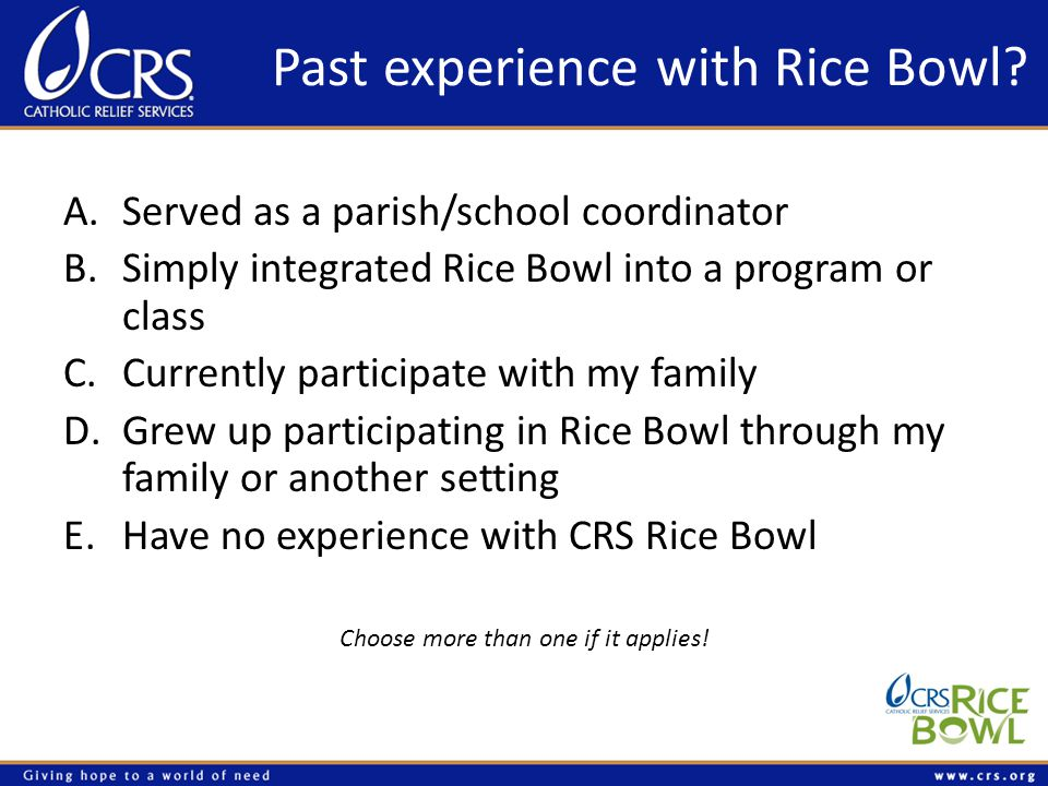 Past experience with Rice Bowl? A.Served as a parish/school coordinator B.Simply integrated Rice Bowl into a program or class C.Currently participate