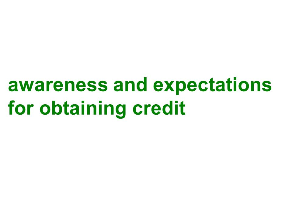 awareness and expectations for obtaining credit