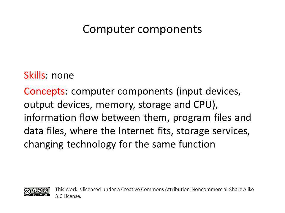 Computer components Skills: none Concepts: computer components (input devices, output devices, memory, storage and CPU), information flow between them