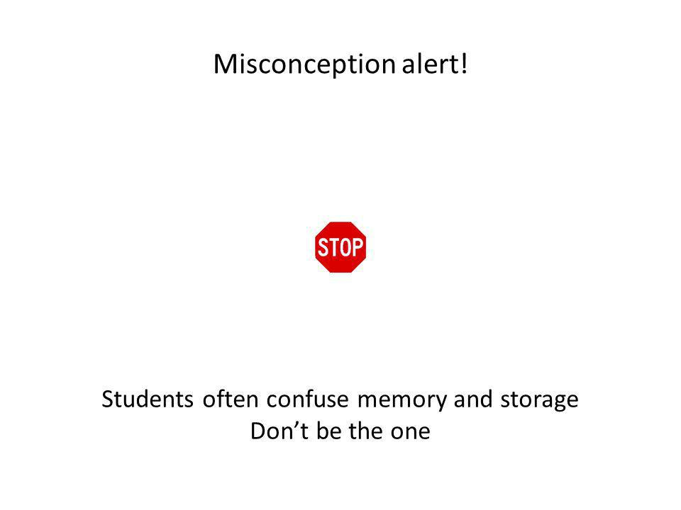 Misconception alert! Students often confuse memory and storage Dont be the one