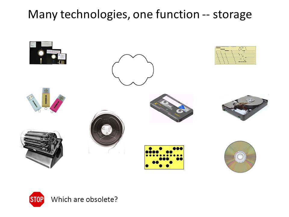 Many technologies, one function -- storage Which are obsolete