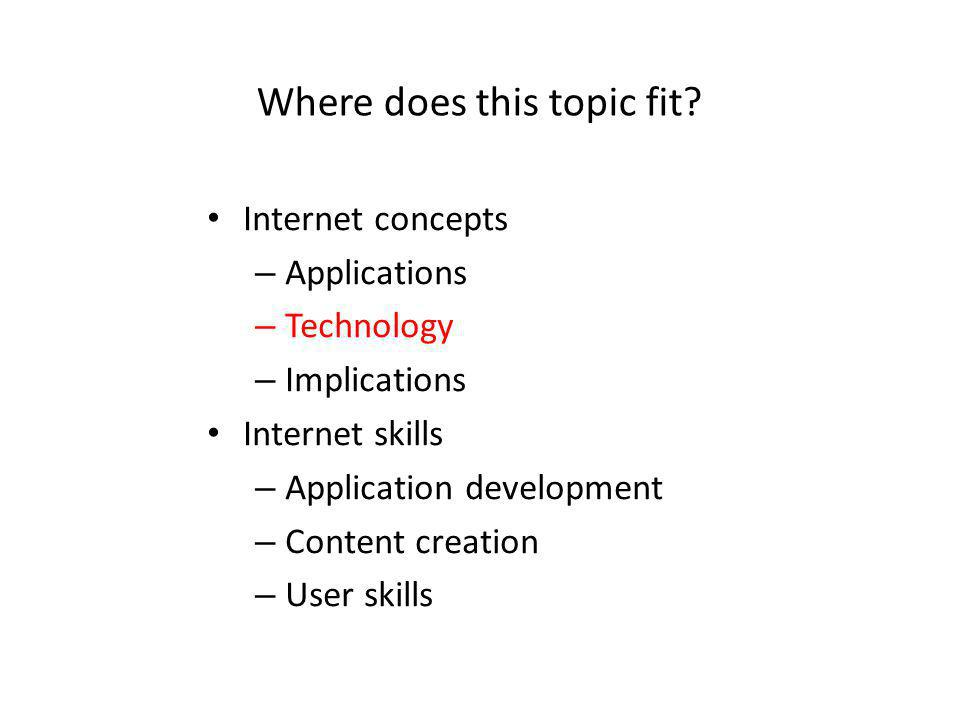 Where does this topic fit? Internet concepts – Applications – Technology – Implications Internet skills – Application development – Content creation –