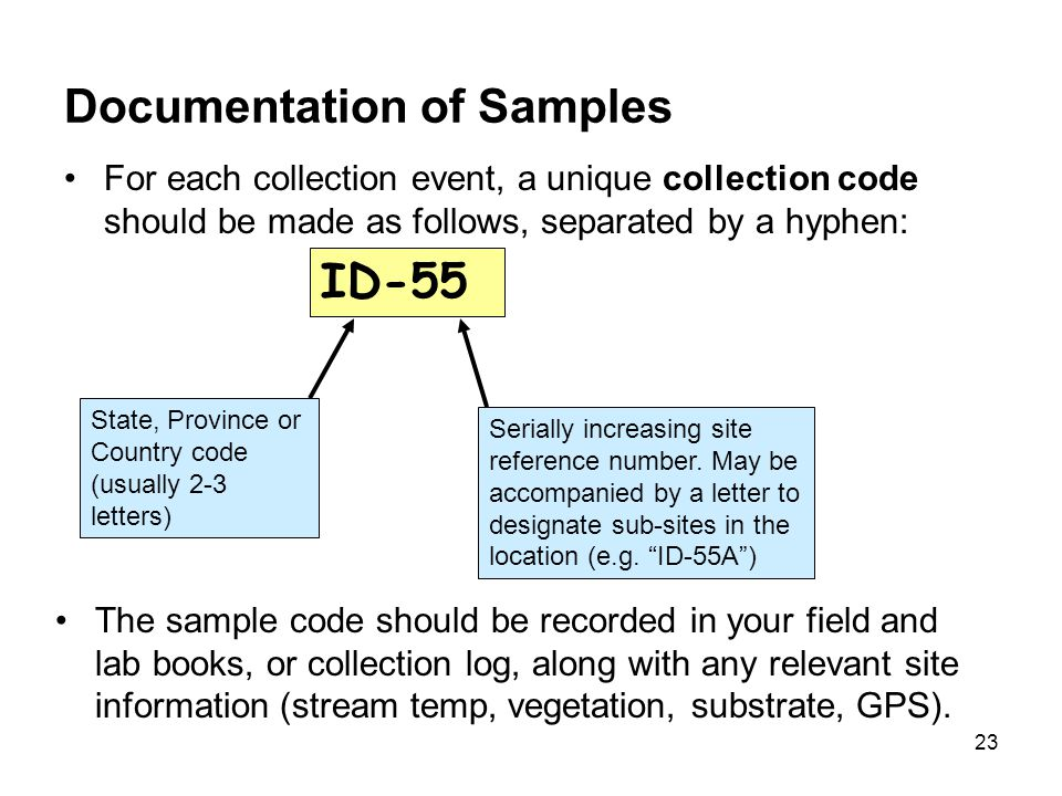 23 Documentation of Samples For each collection event, a unique collection code should be made as follows, separated by a hyphen: ID-55 State, Provinc
