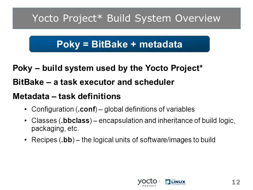 Yocto Project* Build System Overview Poky – build system used by the Yocto Project* BitBake – a task executor and scheduler Metadata – task definitions Configuration (.conf) – global definitions of variables Classes (.bbclass) – encapsulation and inheritance of build logic, packaging, etc.