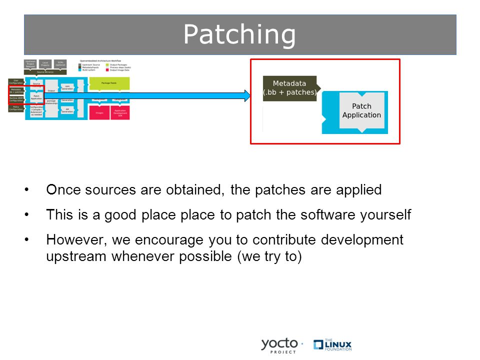 Patching Once sources are obtained, the patches are applied This is a good place place to patch the software yourself However, we encourage you to contribute development upstream whenever possible (we try to)
