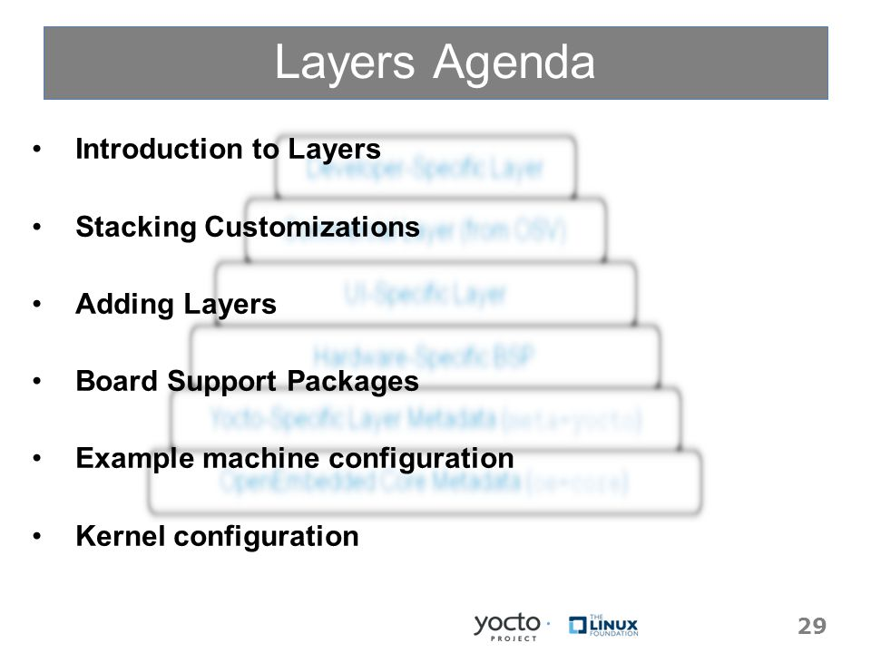 Layers Agenda Introduction to Layers Stacking Customizations Adding Layers Board Support Packages Example machine configuration Kernel configuration Introduction to Layers Stacking Customizations Adding Layers Board Support Packages Example machine configuration Kernel configuration 29