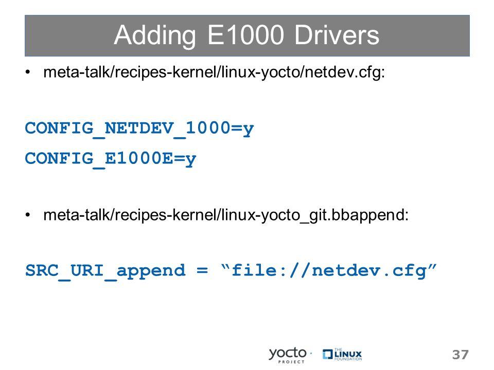 Adding E1000 Drivers meta-talk/recipes-kernel/linux-yocto/netdev.cfg: CONFIG_NETDEV_1000=y CONFIG_E1000E=y meta-talk/recipes-kernel/linux-yocto_git.bbappend: SRC_URI_append = file://netdev.cfg 37