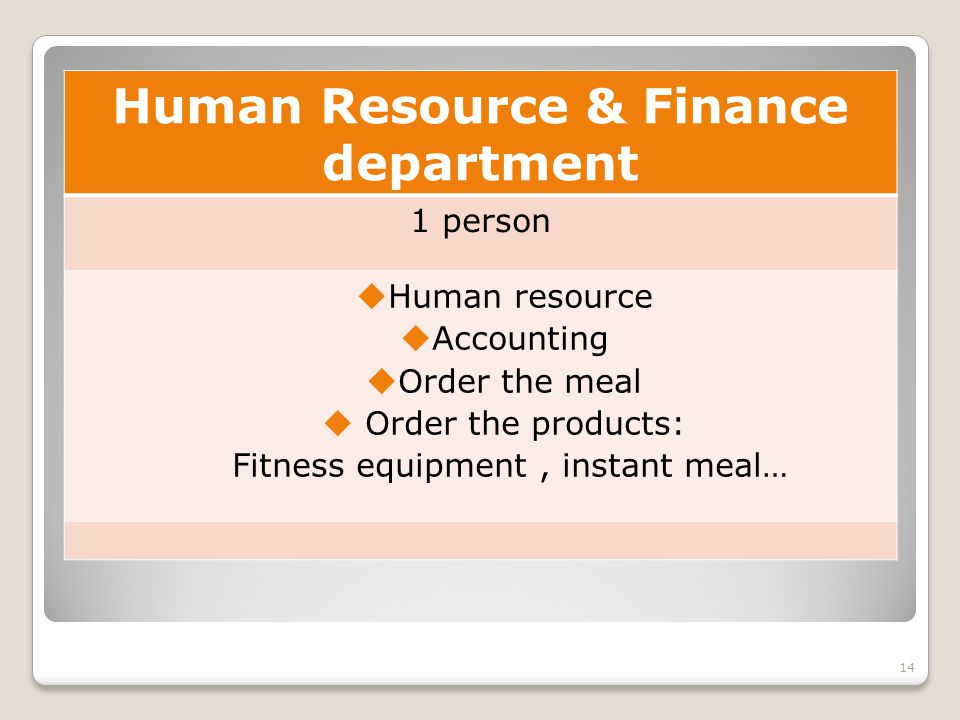 Human Resource & Finance department 1 person Human resource Accounting Order the meal Order the products: Fitness equipment, instant meal… 14