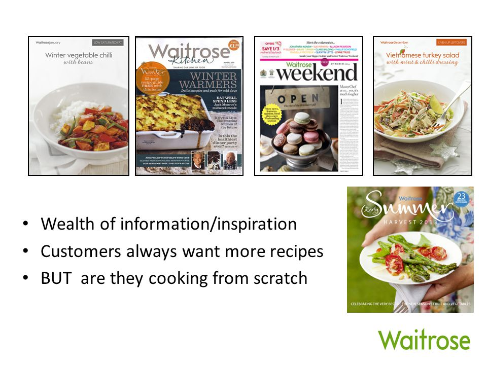 Wealth of information/inspiration Customers always want more recipes BUT are they cooking from scratch