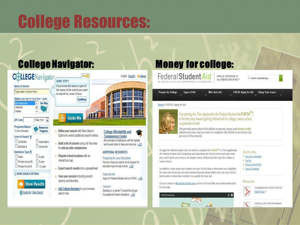 College Resources: College Navigator:Money for college: