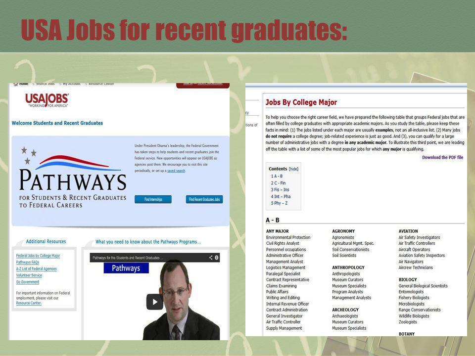 USA Jobs for recent graduates: