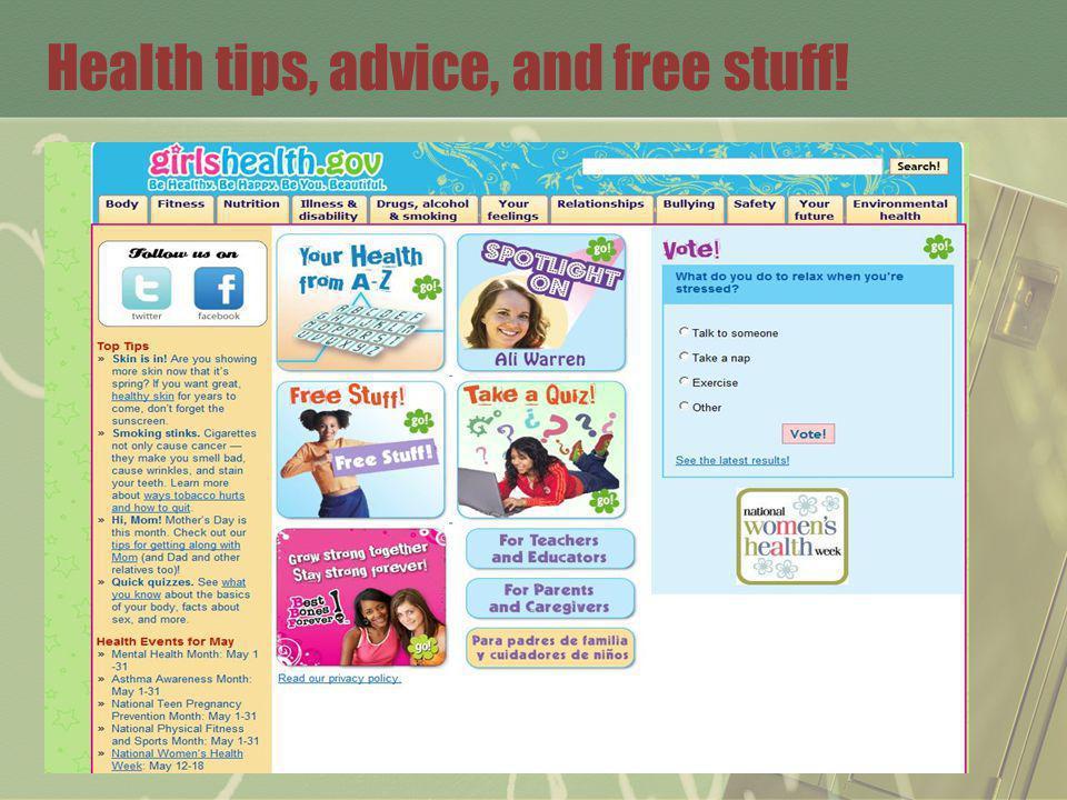 Health tips, advice, and free stuff!