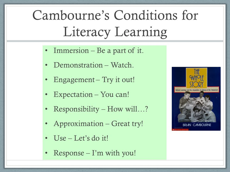 Cambournes Conditions for Literacy Learning Immersion – Be a part of it. Demonstration – Watch. Engagement – Try it out! Expectation – You can! Respon