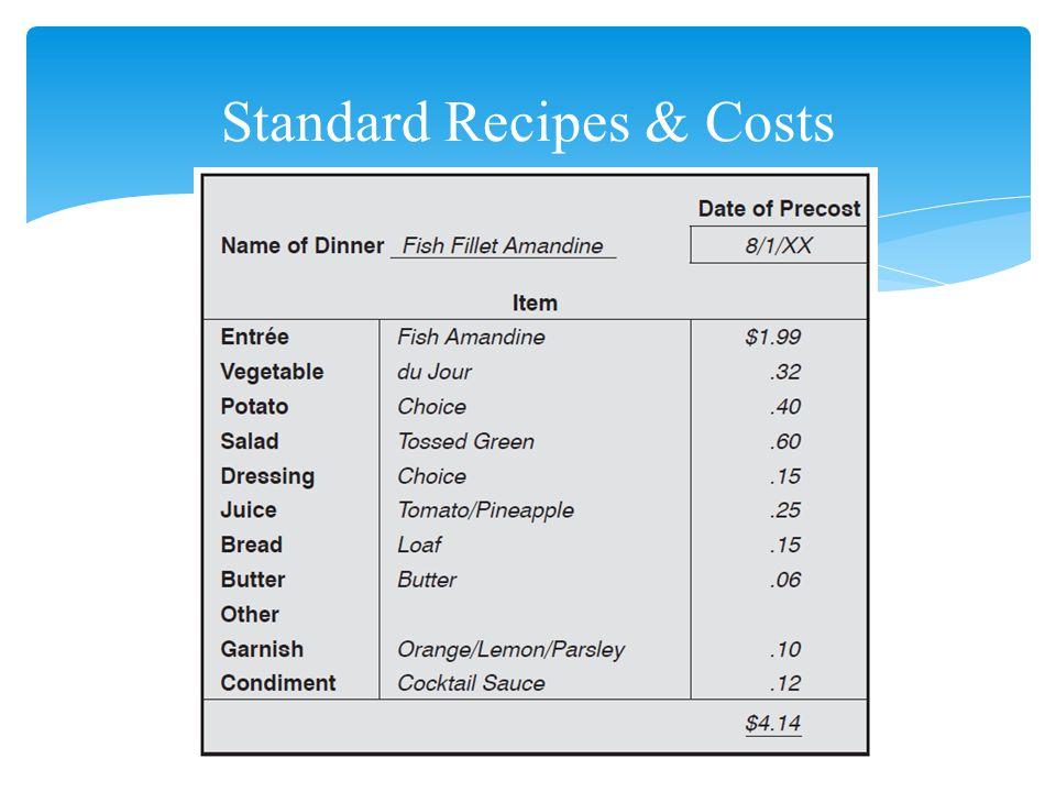 21 Standard Recipes & Costs
