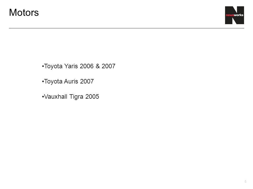 5 Motors Toyota Yaris 2006 & 2007 Toyota Auris 2007 Vauxhall Tigra 2005