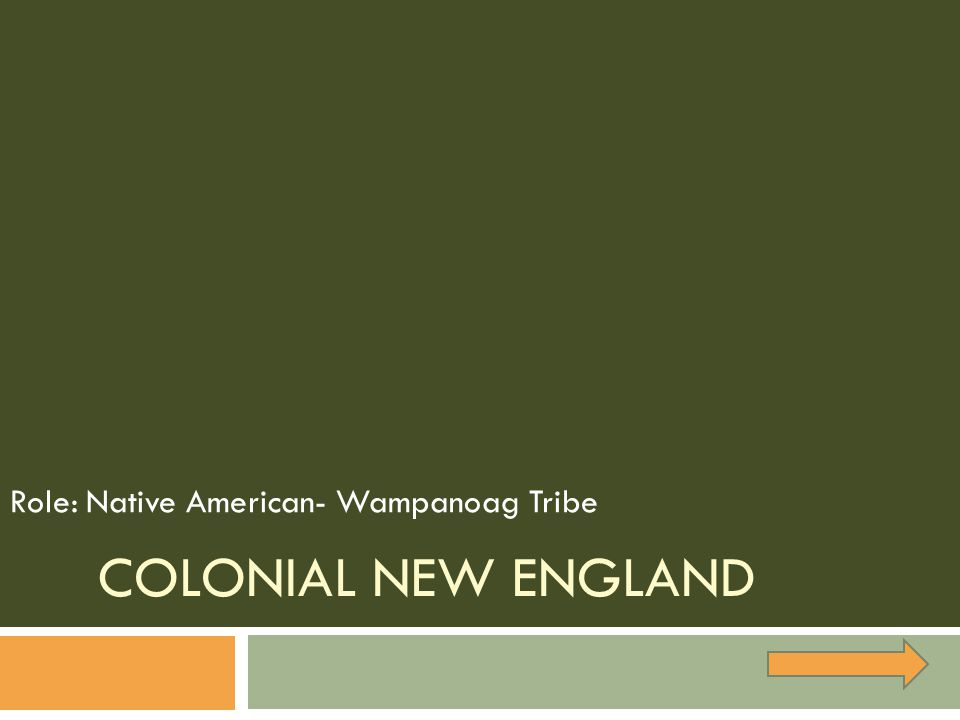 COLONIAL NEW ENGLAND Role: Native American- Wampanoag Tribe