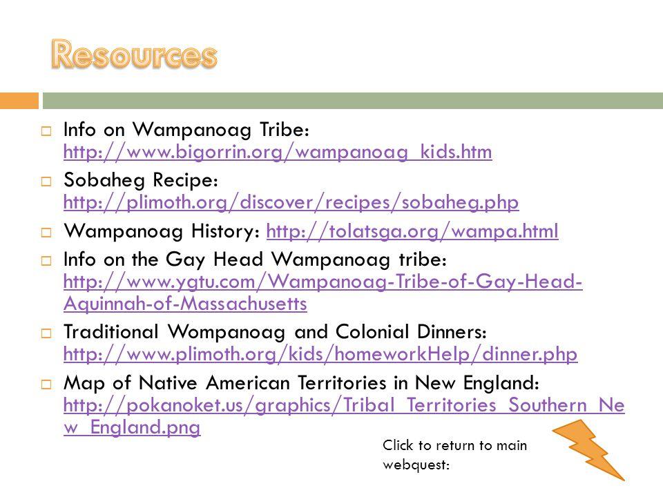 Info on Wampanoag Tribe: http://www.bigorrin.org/wampanoag_kids.htm http://www.bigorrin.org/wampanoag_kids.htm Sobaheg Recipe: http://plimoth.org/disc