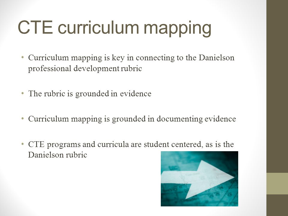 CTE curriculum mapping Curriculum mapping is key in connecting to the Danielson professional development rubric The rubric is grounded in evidence Cur