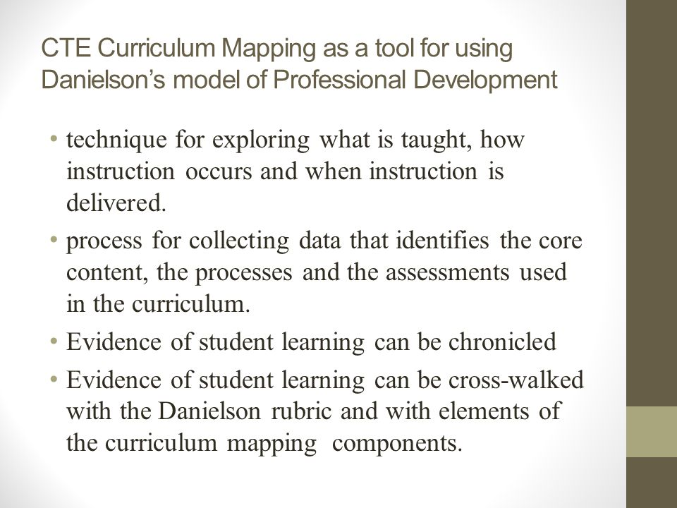 CTE Curriculum Mapping as a tool for using Danielsons model of Professional Development technique for exploring what is taught, how instruction occurs