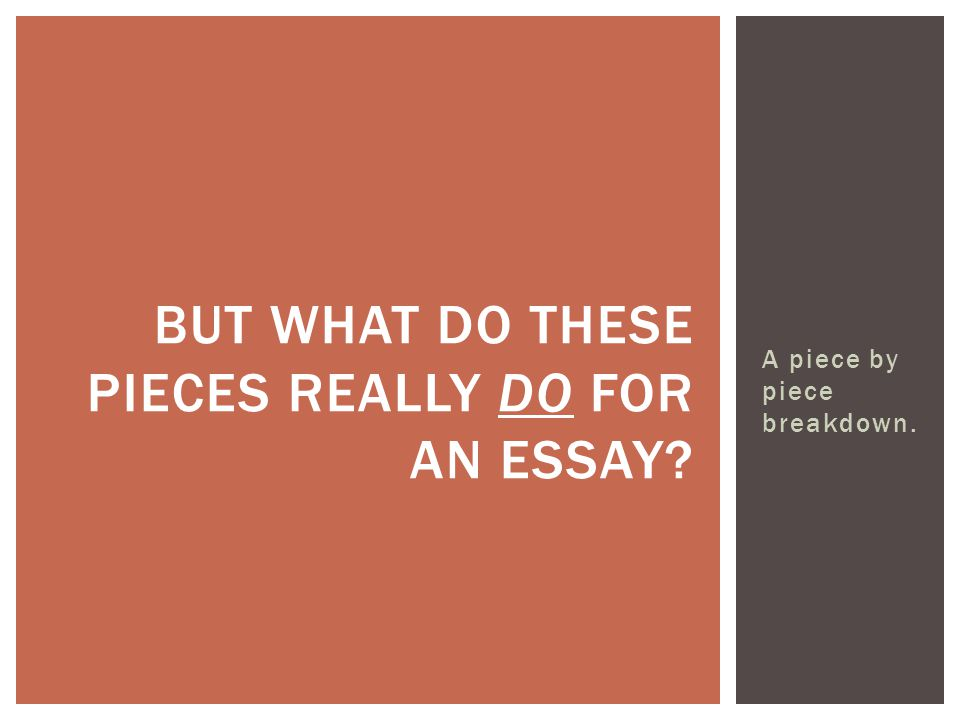 A piece by piece breakdown. BUT WHAT DO THESE PIECES REALLY DO FOR AN ESSAY?