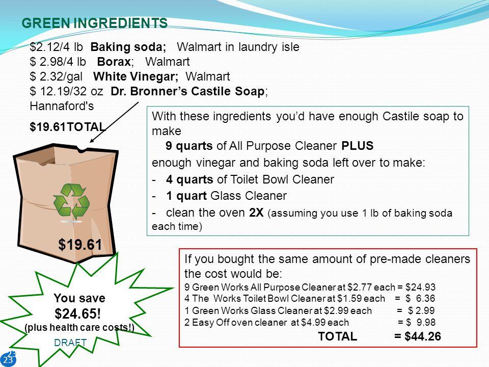 23 $2.12/4 lb Baking soda; Walmart in laundry isle $ 2.98/4 lb Borax; Walmart $ 2.32/gal White Vinegar; Walmart $ 12.19/32 oz Dr. Bronners Castile Soa