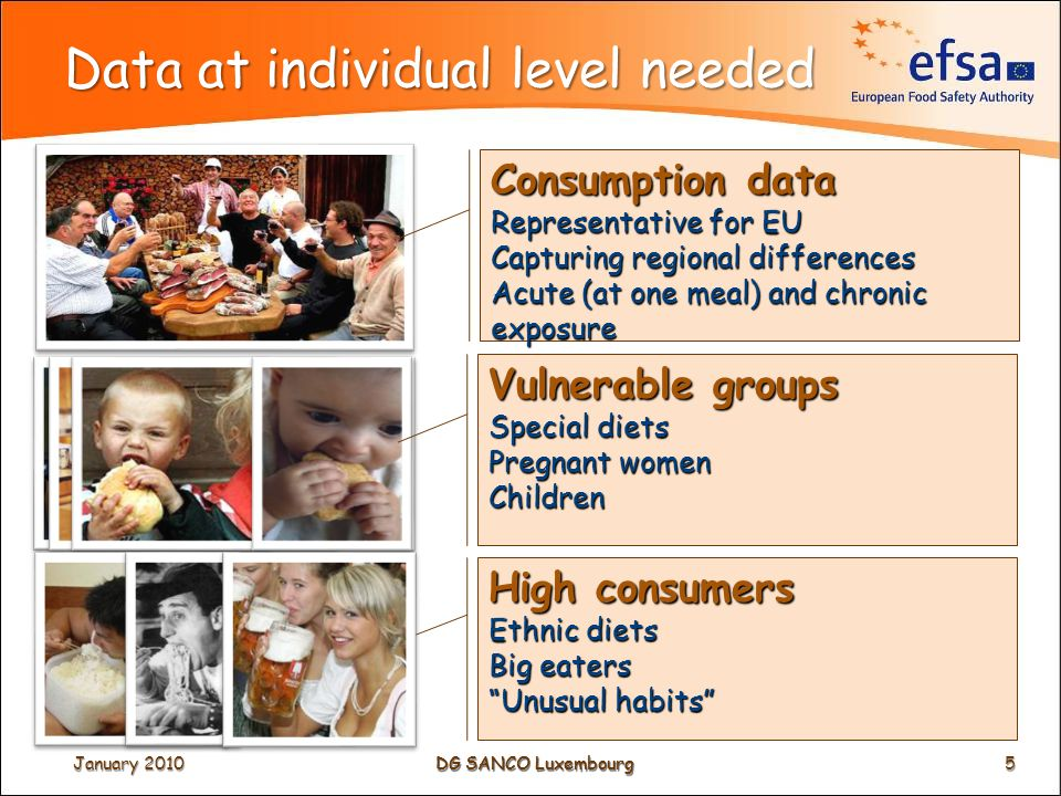 DG SANCO Luxembourg Data at individual level needed Consumption data Representative for EU Capturing regional differences Acute (at one meal) and chronic exposure Vulnerable groups Special diets Pregnant women Children High consumers Ethnic diets Big eaters Unusual habits January 2010 5 DG SANCO Luxembourg