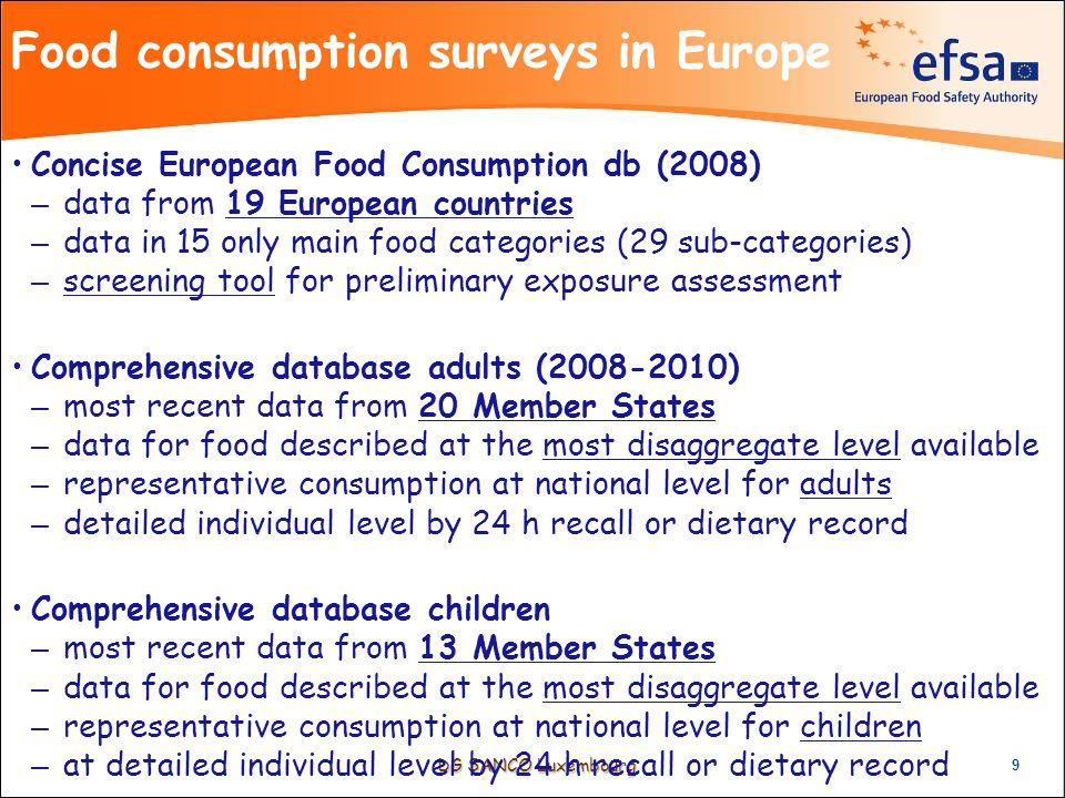 DG SANCO Luxembourg Food consumption surveys in Europe 9 Concise European Food Consumption db (2008) – data from 19 European countries – data in 15 only main food categories (29 sub-categories) – screening tool for preliminary exposure assessment Comprehensive database adults (2008-2010) – most recent data from 20 Member States – data for food described at the most disaggregate level available – representative consumption at national level for adults – detailed individual level by 24 h recall or dietary record Comprehensive database children – most recent data from 13 Member States – data for food described at the most disaggregate level available – representative consumption at national level for children – at detailed individual level by 24 h recall or dietary record