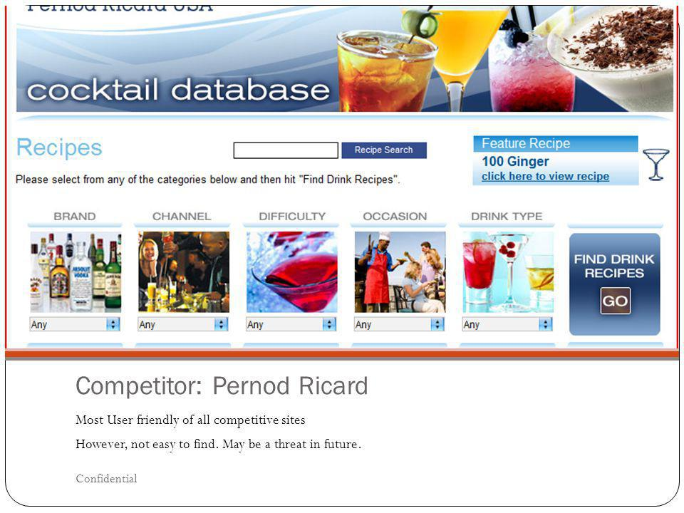 Competitor: Pernod Ricard Most User friendly of all competitive sites However, not easy to find. May be a threat in future. Confidential