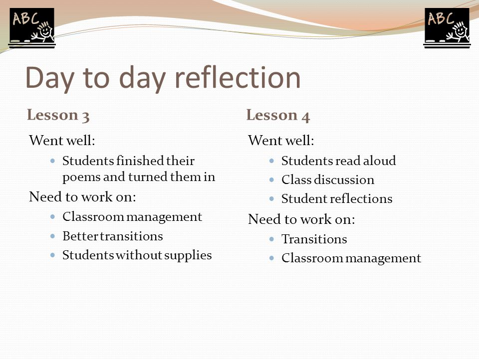 Day to day reflection Lesson 3 Lesson 4 Went well: Students finished their poems and turned them in Need to work on: Classroom management Better trans