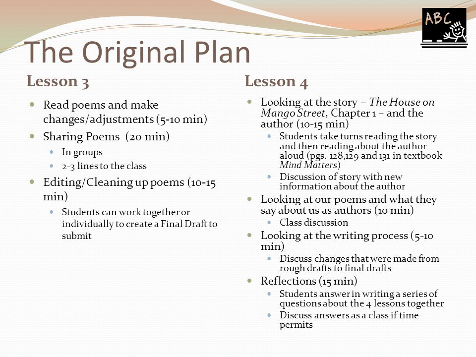The Original Plan Lesson 3 Lesson 4 Read poems and make changes/adjustments (5-10 min) Sharing Poems (20 min) In groups 2-3 lines to the class Editing