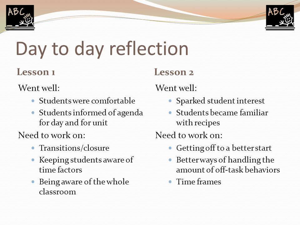 Day to day reflection Lesson 1 Lesson 2 Went well: Students were comfortable Students informed of agenda for day and for unit Need to work on: Transit