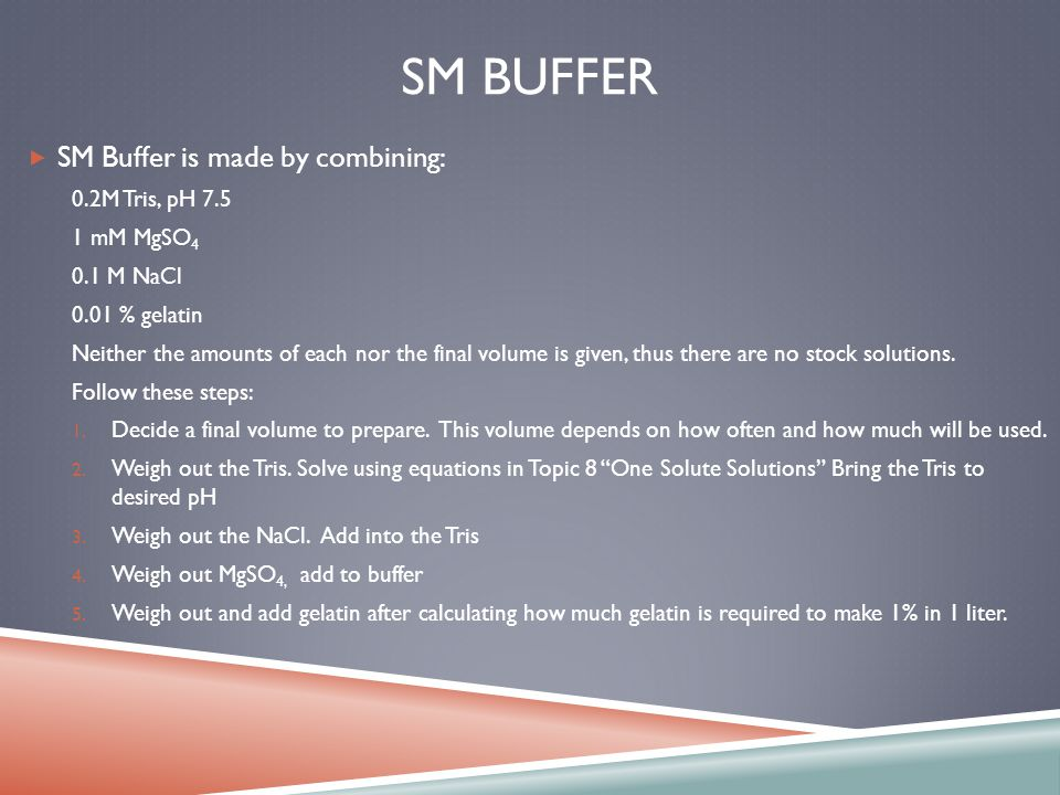 SM BUFFER SM Buffer is made by combining: 0.2M Tris, pH 7.5 1 mM MgSO 4 0.1 M NaCl 0.01 % gelatin Neither the amounts of each nor the final volume is given, thus there are no stock solutions.