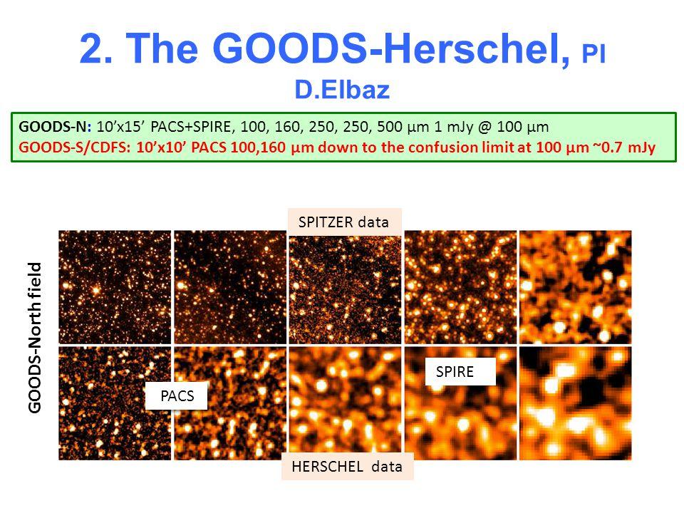 2. The GOODS-Herschel, PI D.Elbaz GOODS-N: 10x15 PACS+SPIRE, 100, 160, 250, 250, 500 µm 1 mJy @ 100 µm GOODS-S/CDFS: 10x10 PACS 100,160 µm down to the