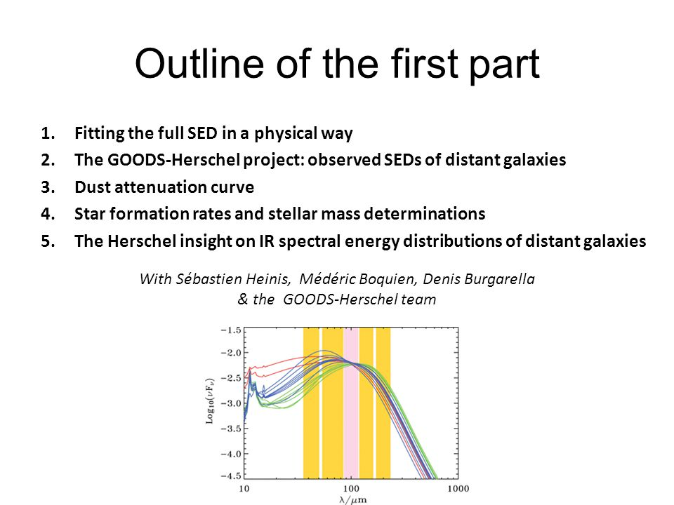 Outline of the first part 1.Fitting the full SED in a physical way 2.The GOODS-Herschel project: observed SEDs of distant galaxies 3.Dust attenuation curve 4.Star formation rates and stellar mass determinations 5.The Herschel insight on IR spectral energy distributions of distant galaxies With Sébastien Heinis, Médéric Boquien, Denis Burgarella & the GOODS-Herschel team