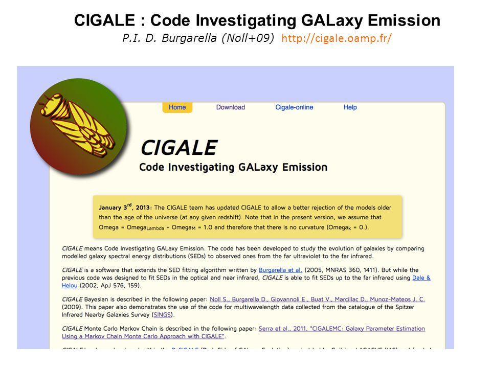 CIGALE : Code Investigating GALaxy Emission P.I. D. Burgarella (Noll+09) http://cigale.oamp.fr/