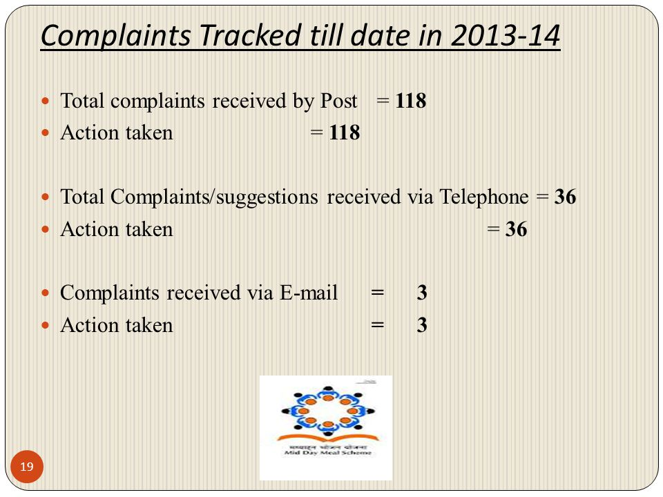 Complaints Tracked till date in 2013-14 19 Total complaints received by Post = 118 Action taken = 118 Total Complaints/suggestions received via Teleph