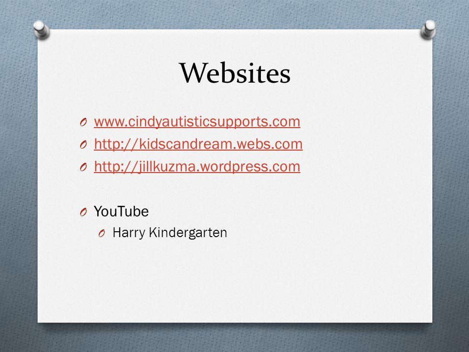 Websites O www.cindyautisticsupports.com www.cindyautisticsupports.com O http://kidscandream.webs.com http://kidscandream.webs.com O http://jillkuzma.wordpress.com http://jillkuzma.wordpress.com O YouTube O Harry Kindergarten