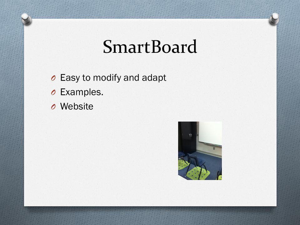 SmartBoard O Easy to modify and adapt O Examples. O Website