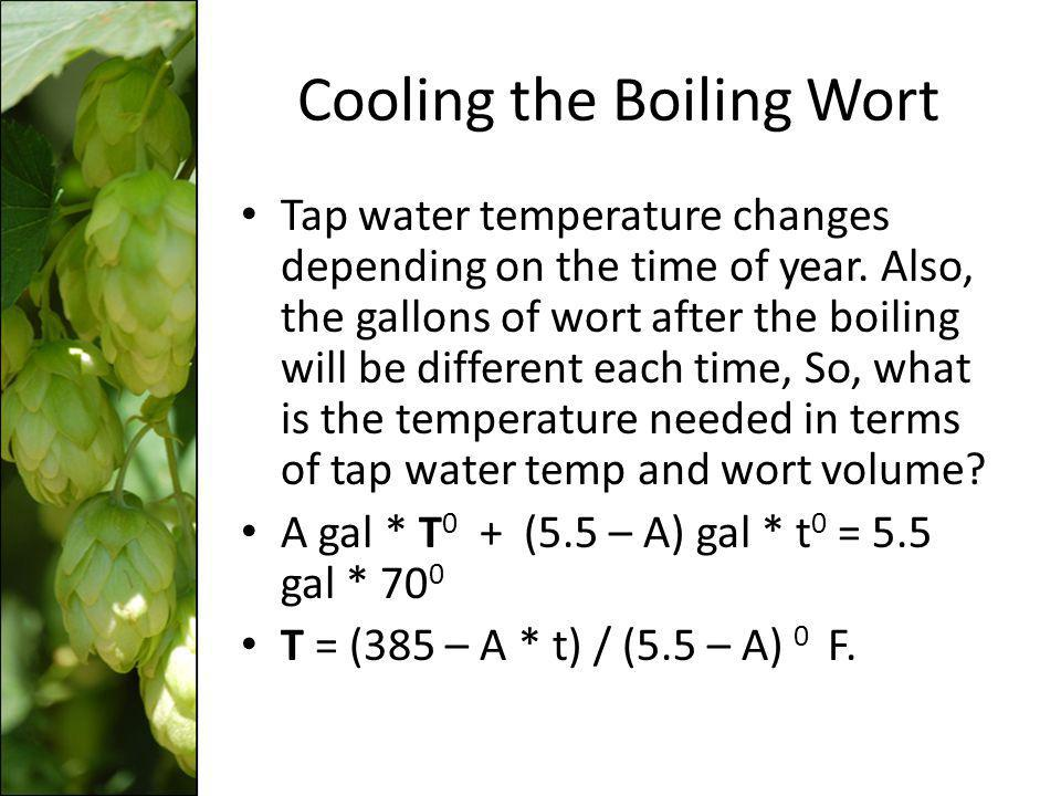 Cooling the Boiling Wort Tap water temperature changes depending on the time of year. Also, the gallons of wort after the boiling will be different ea