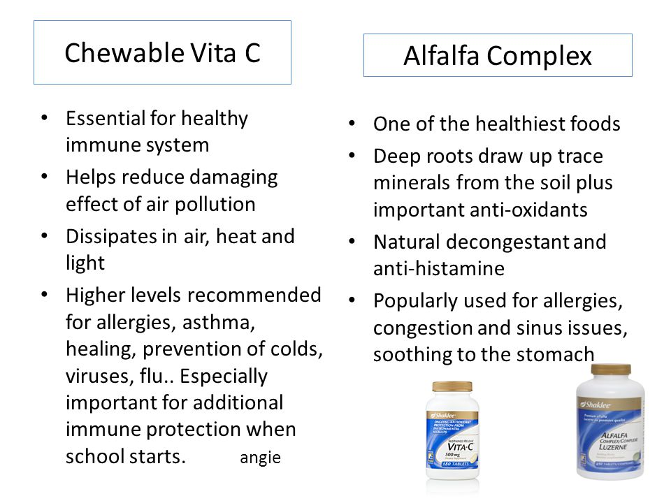 Chewable Vita C Essential for healthy immune system Helps reduce damaging effect of air pollution Dissipates in air, heat and light Higher levels recommended for allergies, asthma, healing, prevention of colds, viruses, flu..
