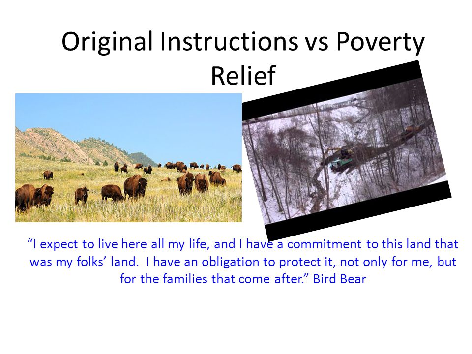 Original Instructions vs Poverty Relief I expect to live here all my life, and I have a commitment to this land that was my folks land. I have an obli