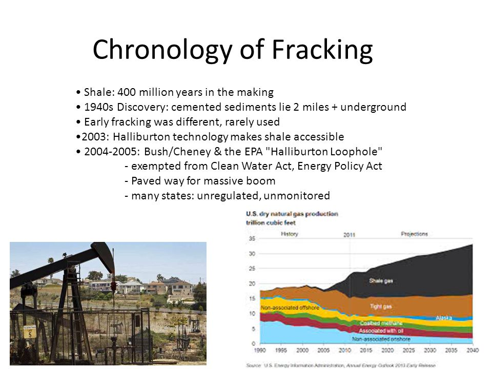 Chronology of Fracking Shale: 400 million years in the making 1940s Discovery: cemented sediments lie 2 miles + underground Early fracking was different, rarely used 2003: Halliburton technology makes shale accessible 2004-2005: Bush/Cheney & the EPA Halliburton Loophole - exempted from Clean Water Act, Energy Policy Act - Paved way for massive boom - many states: unregulated, unmonitored