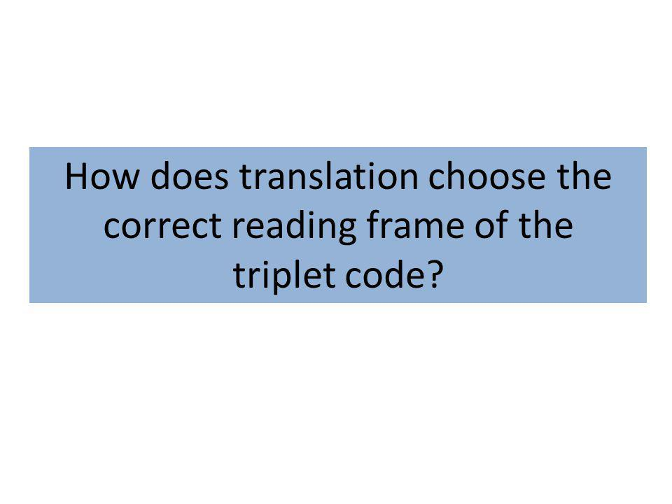 How does translation choose the correct reading frame of the triplet code?