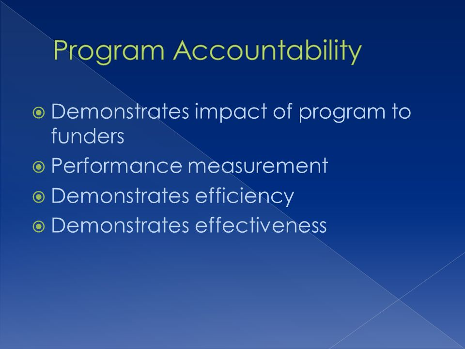Demonstrates impact of program to funders Performance measurement Demonstrates efficiency Demonstrates effectiveness