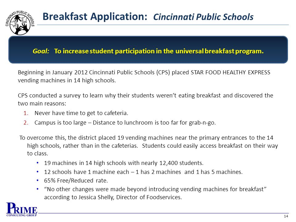 14 Breakfast Application: Cincinnati Public Schools Beginning in January 2012 Cincinnati Public Schools (CPS) placed STAR FOOD HEALTHY EXPRESS vending machines in 14 high schools.